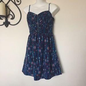 Socialite Bustier Exposed Zip Print Challis Dress